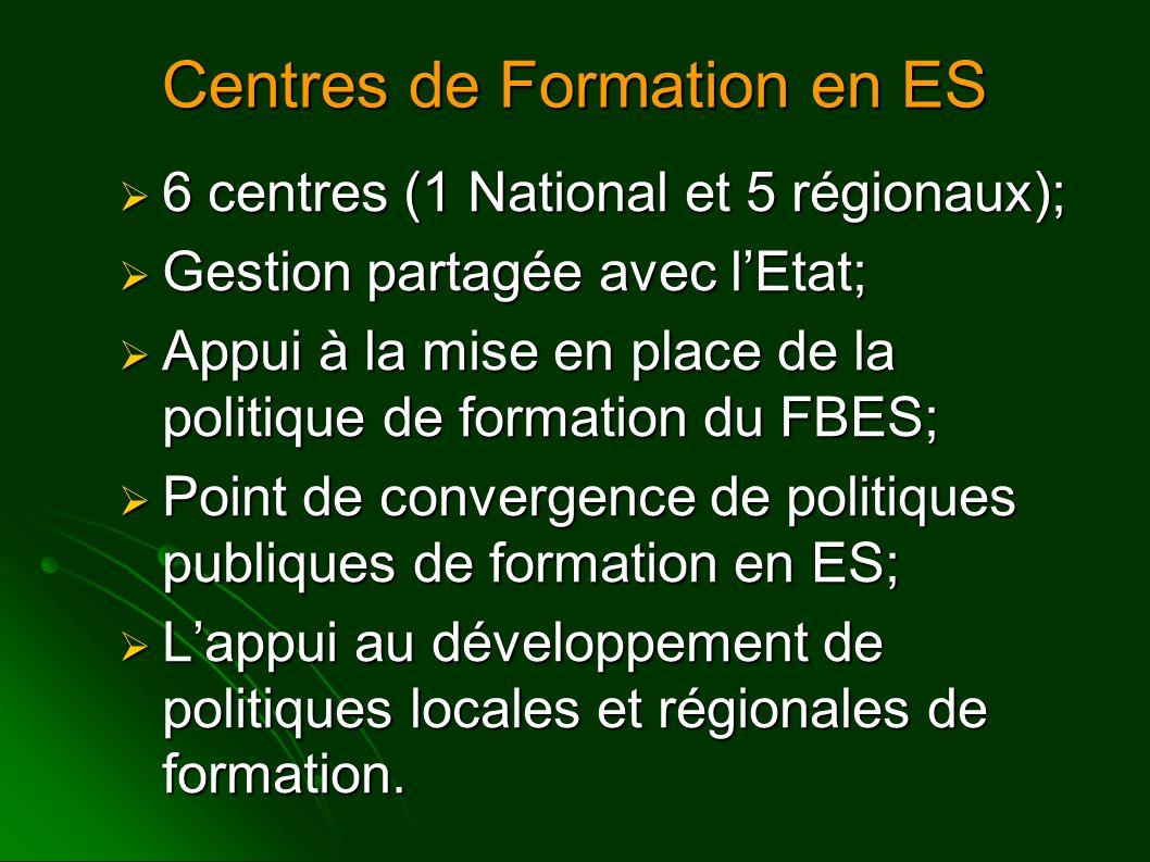 Centres de Formation en ES  6 centres (1 National et 5 régionaux);  Gestion partagée avec l'Etat;  Appui à la mise en place de la politique de formation du FBES;  Point de convergence de politiques publiques de formation en ES;  L'appui au développement de politiques locales et régionales de formation.
