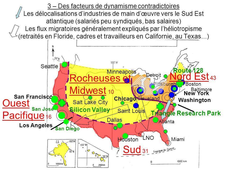 3 – Des facteurs de dynamisme contradictoires Les délocalisations d'industries de main d'œuvre vers le Sud Est atlantique (salariés peu syndiqués, bas