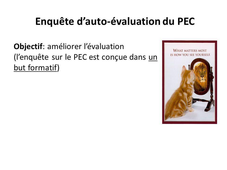 Enquête d'auto-évaluation du PEC Objectif: améliorer l'évaluation (l'enquête sur le PEC est conçue dans un but formatif)