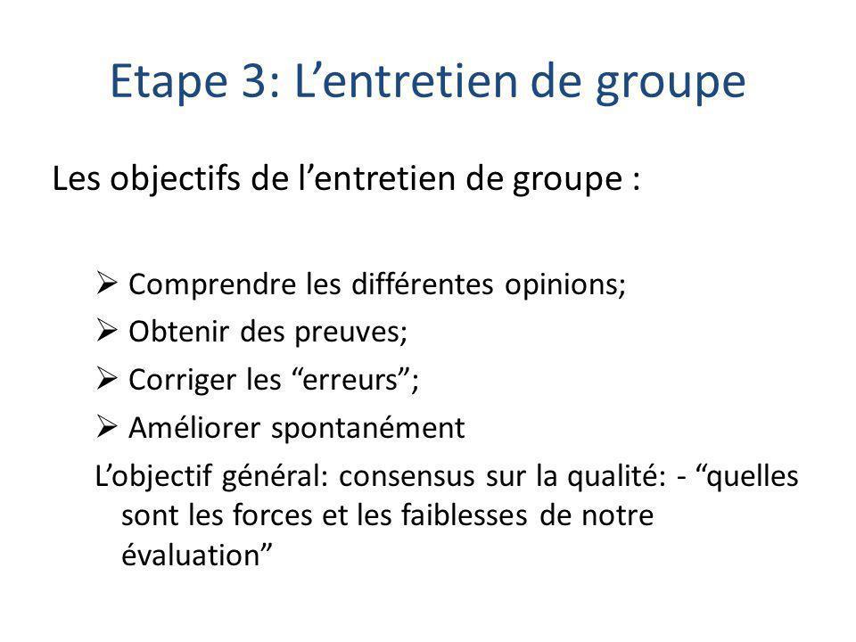 Etape 3: L'entretien de groupe Les objectifs de l'entretien de groupe :  Comprendre les différentes opinions;  Obtenir des preuves;  Corriger les erreurs ;  Améliorer spontanément L'objectif général: consensus sur la qualité: - quelles sont les forces et les faiblesses de notre évaluation