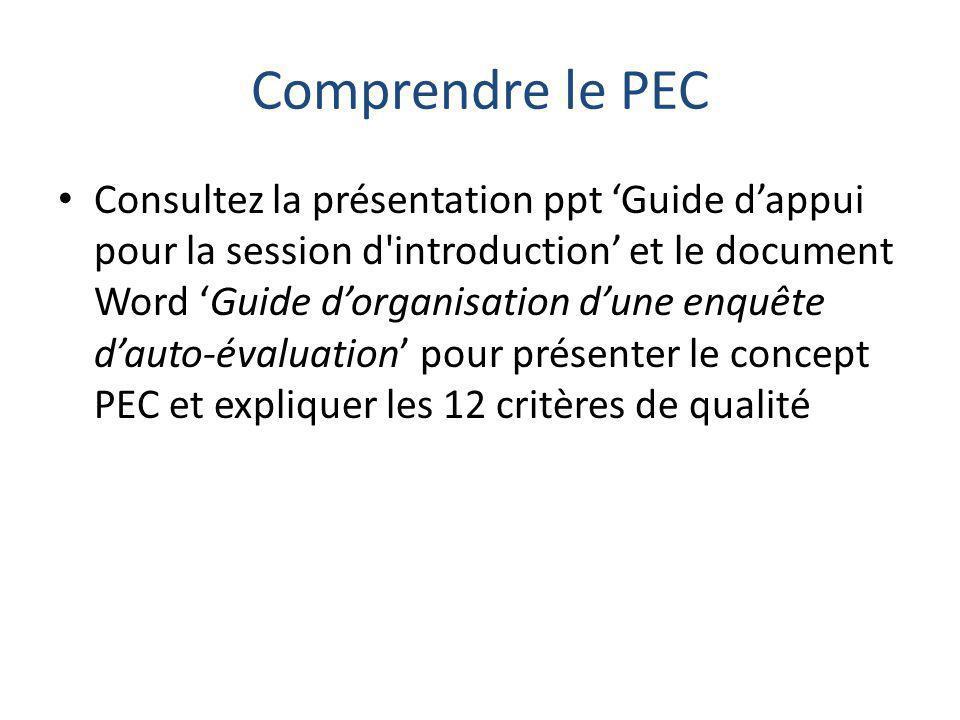 Comprendre le PEC Consultez la présentation ppt 'Guide d'appui pour la session d introduction' et le document Word 'Guide d'organisation d'une enquête d'auto-évaluation' pour présenter le concept PEC et expliquer les 12 critères de qualité