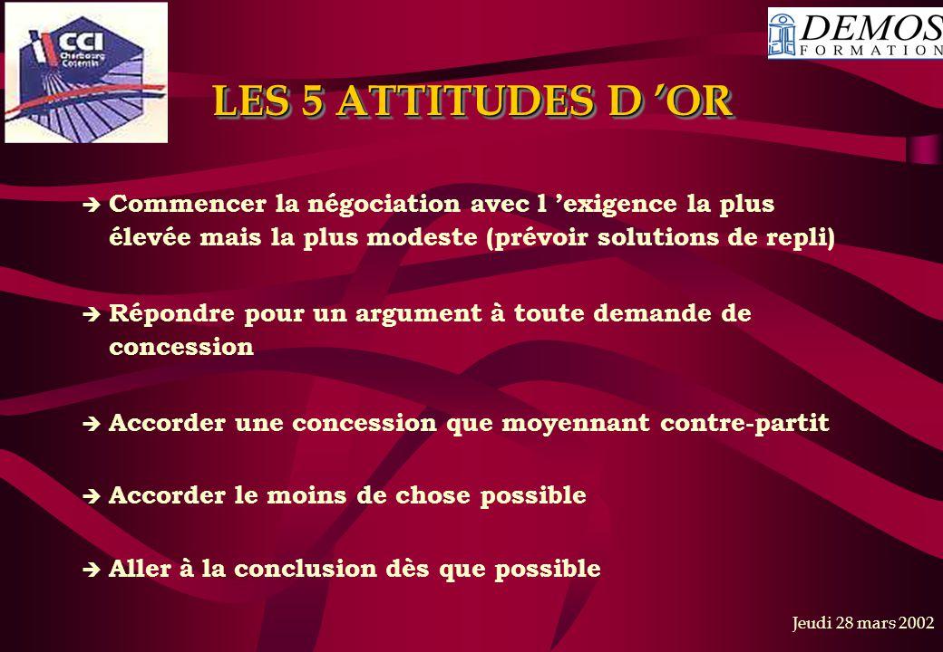 Jeudi 28 mars 2002 LES 5 ATTITUDES D 'OR  Commencer la négociation avec l 'exigence la plus élevée mais la plus modeste (prévoir solutions de repli)
