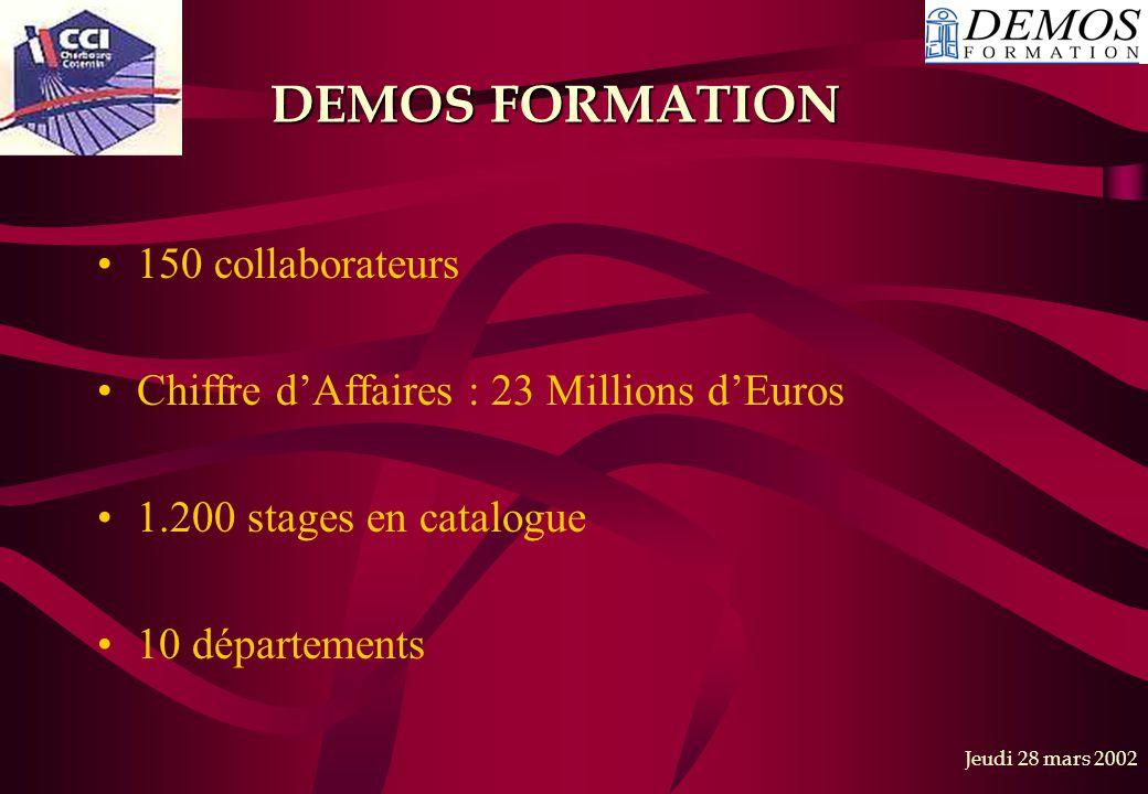 Jeudi 28 mars 2002 DEMOS FORMATION 150 collaborateurs Chiffre d'Affaires : 23 Millions d'Euros 1.200 stages en catalogue 10 départements