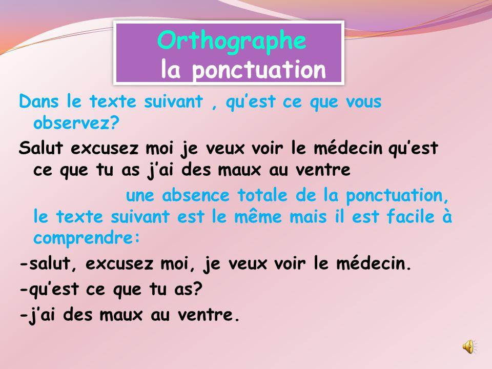 Orthographe la ponctuation Dans le texte suivant, qu'est ce que vous observez.