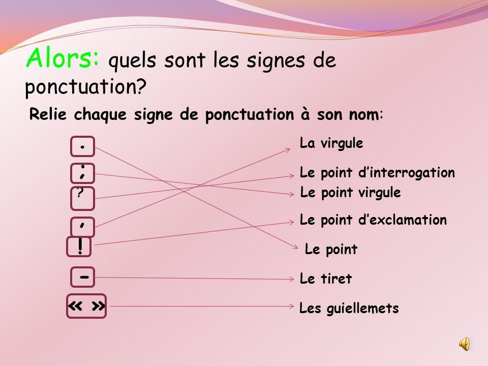 Alors: quels sont les signes de ponctuation.Relie chaque signe de ponctuation à son nom:.
