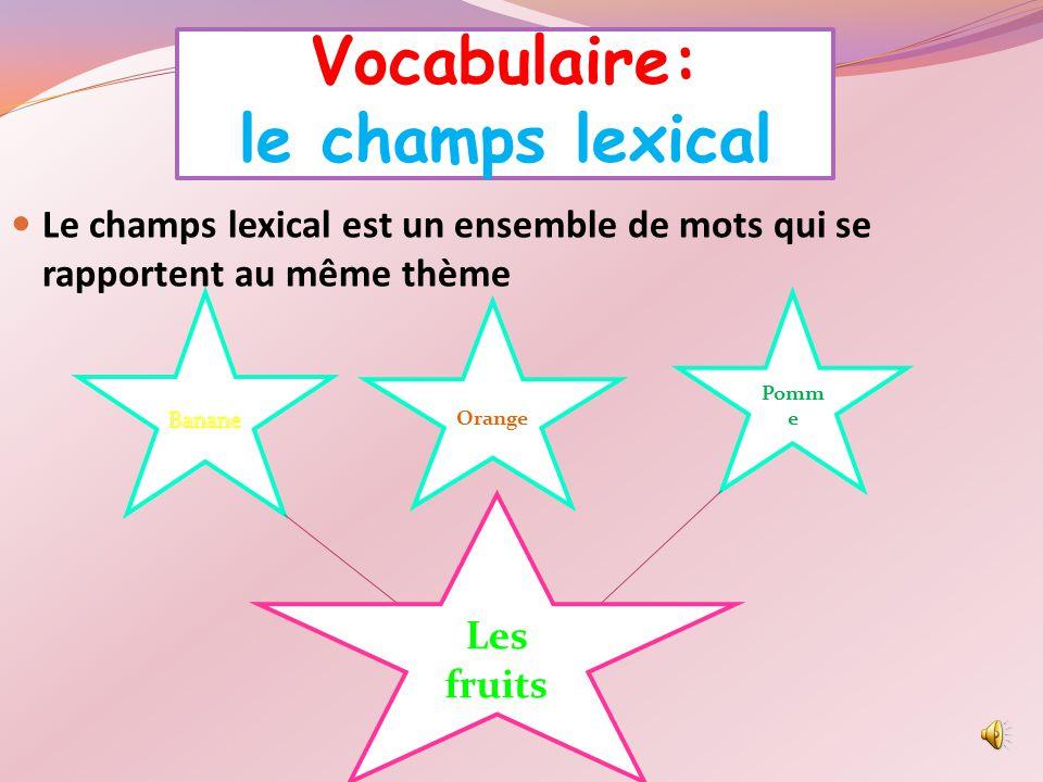 Vocabulaire: le champs lexical Le champs lexical est un ensemble de mots qui se rapportent au même thème Orange Pomm e Les fruits