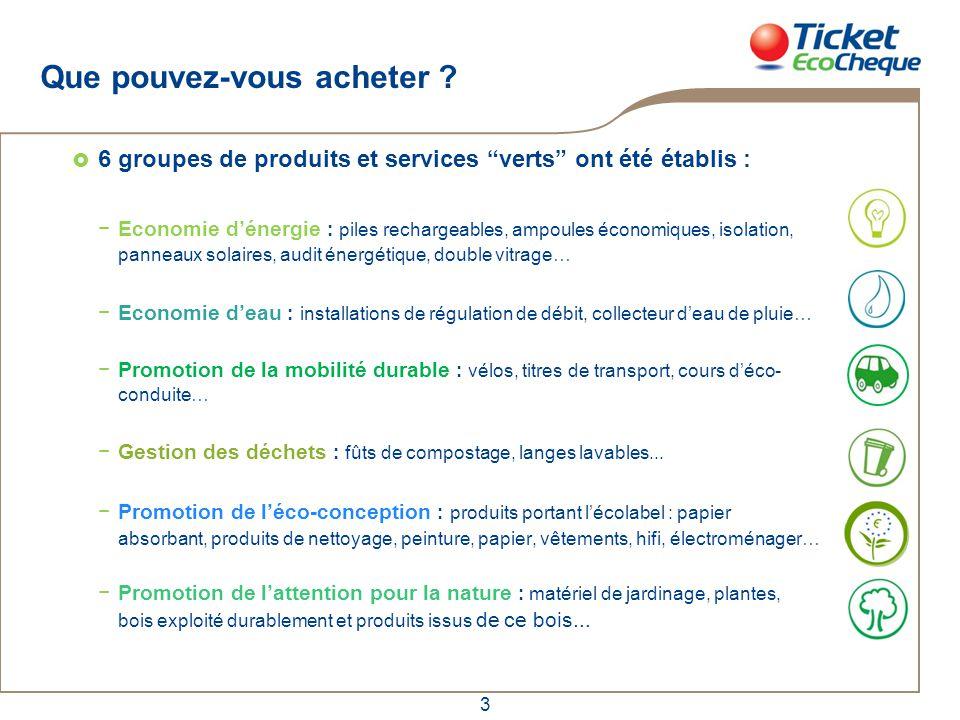 """3 Que pouvez-vous acheter ?  6 groupes de produits et services """"verts"""" ont été établis : −Economie d'énergie : piles rechargeables, ampoules économiq"""