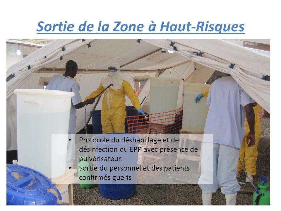 Protocole du déshabillage et de désinfection du EPP avec présence de pulvérisateur.