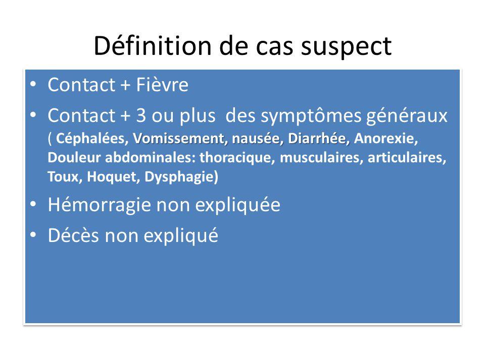 Définition de cas suspect Contact + Fièvre Vomissement, nausée, Diarrhée, Contact + 3 ou plus des symptômes généraux ( Céphalées, Vomissement, nausée, Diarrhée, Anorexie, Douleur abdominales: thoracique, musculaires, articulaires, Toux, Hoquet, Dysphagie) Hémorragie non expliquée Décès non expliqué Contact + Fièvre Vomissement, nausée, Diarrhée, Contact + 3 ou plus des symptômes généraux ( Céphalées, Vomissement, nausée, Diarrhée, Anorexie, Douleur abdominales: thoracique, musculaires, articulaires, Toux, Hoquet, Dysphagie) Hémorragie non expliquée Décès non expliqué