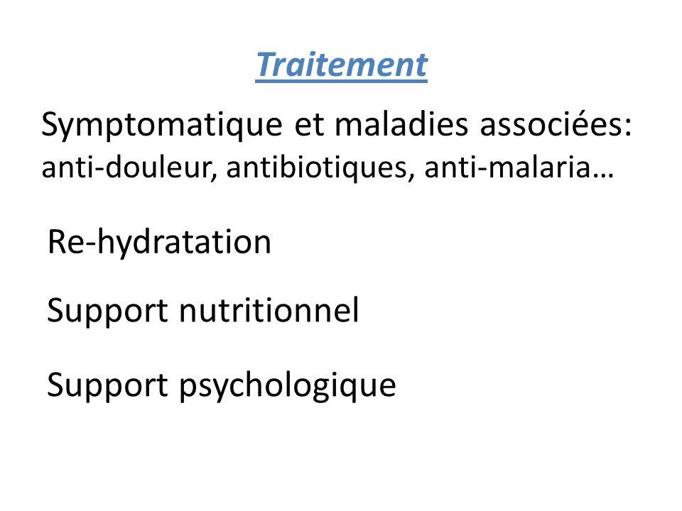 Traitement Symptomatique et maladies associées: anti-douleur, antibiotiques, anti-malaria… Re-hydratation Support nutritionnel Support psychologique