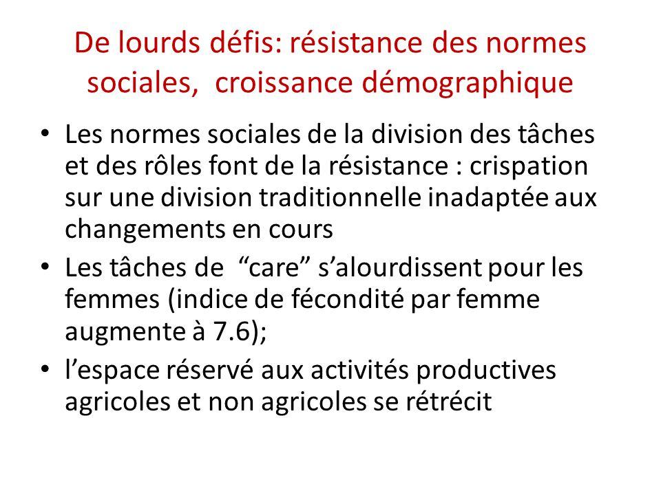 De lourds défis: résistance des normes sociales, croissance démographique Les normes sociales de la division des tâches et des rôles font de la résist