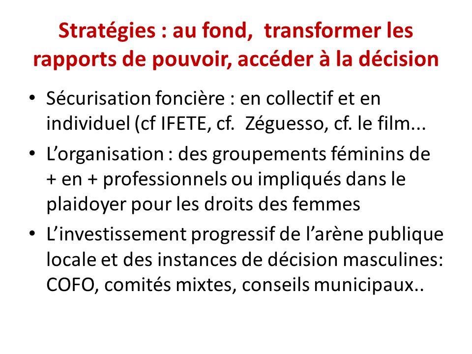 Stratégies : au fond, transformer les rapports de pouvoir, accéder à la décision Sécurisation foncière : en collectif et en individuel (cf IFETE, cf.