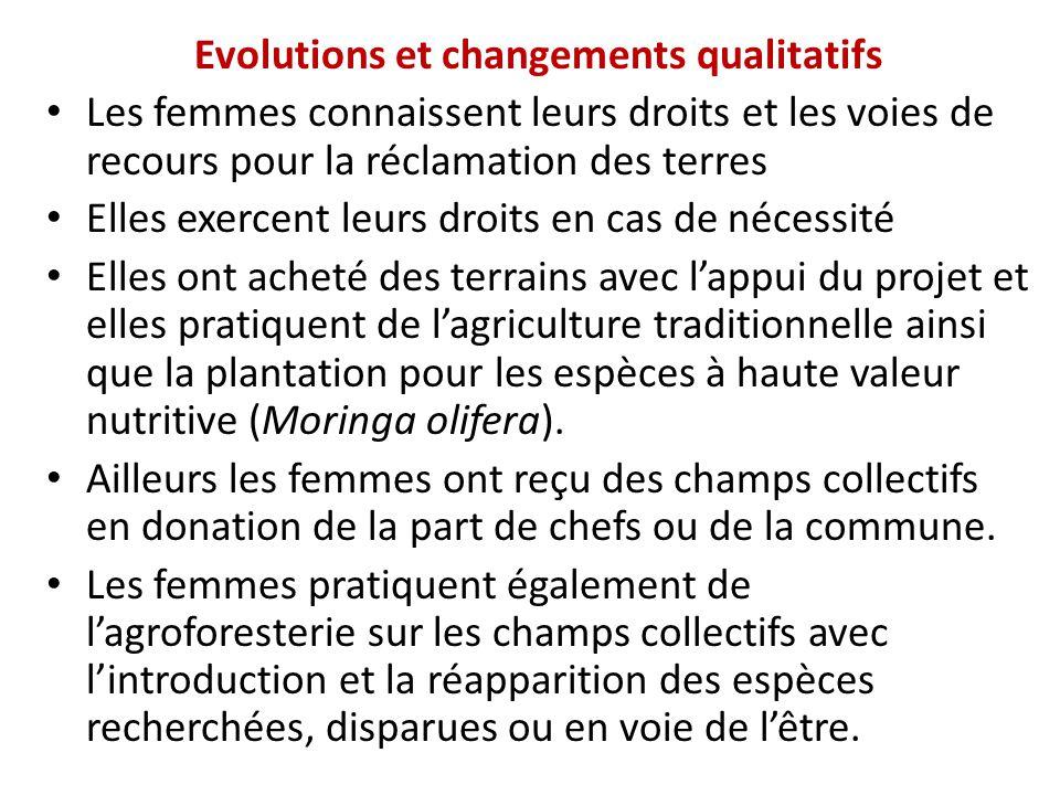 Evolutions et changements qualitatifs Les femmes connaissent leurs droits et les voies de recours pour la réclamation des terres Elles exercent leurs
