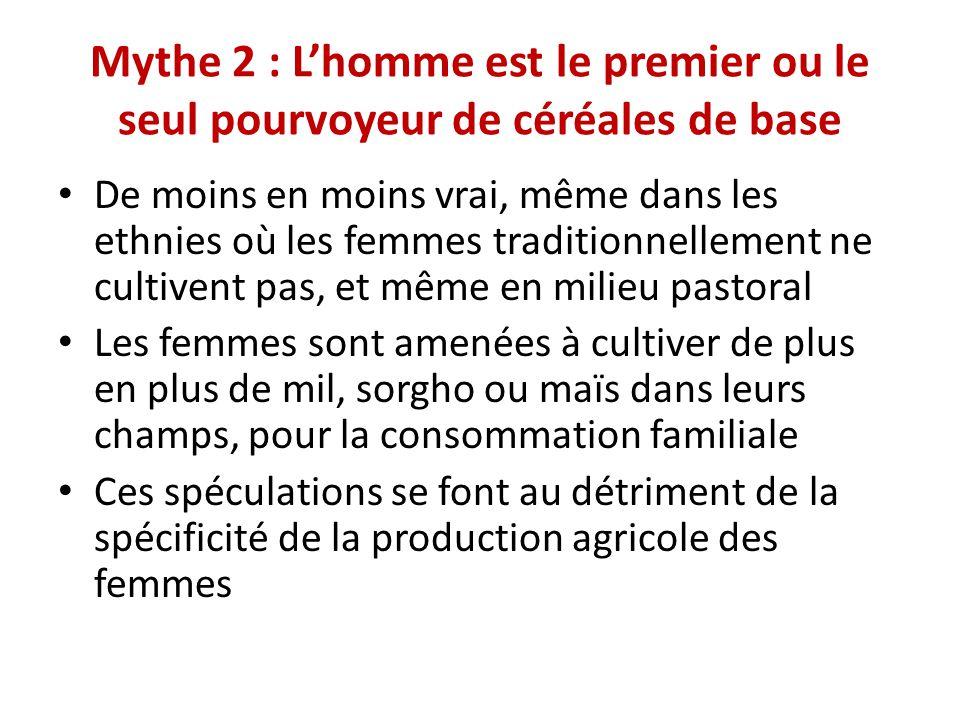 Mythe 2 : L'homme est le premier ou le seul pourvoyeur de céréales de base De moins en moins vrai, même dans les ethnies où les femmes traditionnellem