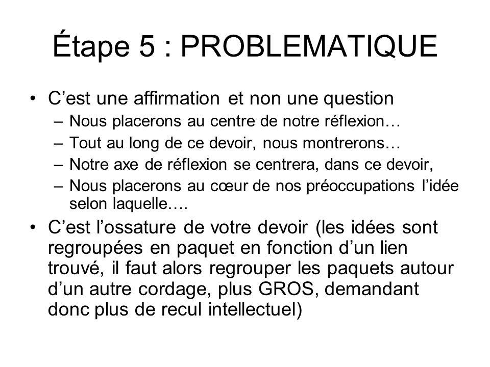 Étape 5 : PROBLEMATIQUE C'est une affirmation et non une question –Nous placerons au centre de notre réflexion… –Tout au long de ce devoir, nous montr