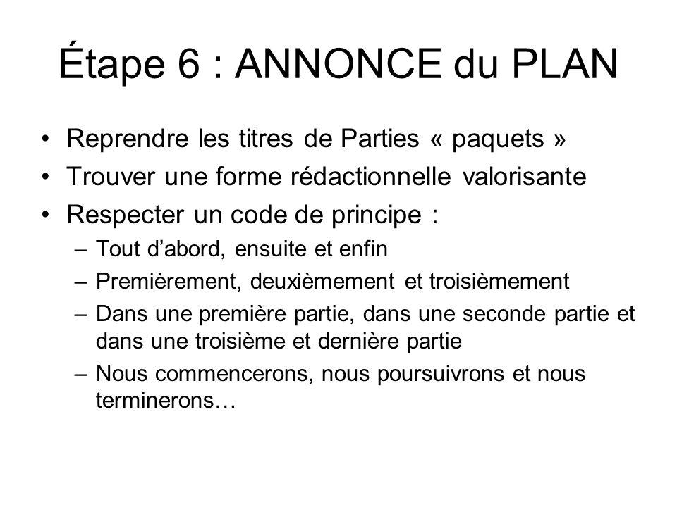 Étape 6 : ANNONCE du PLAN Reprendre les titres de Parties « paquets » Trouver une forme rédactionnelle valorisante Respecter un code de principe : –To