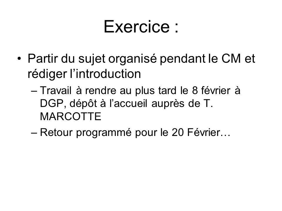 Exercice : Partir du sujet organisé pendant le CM et rédiger l'introduction –Travail à rendre au plus tard le 8 février à DGP, dépôt à l'accueil auprè