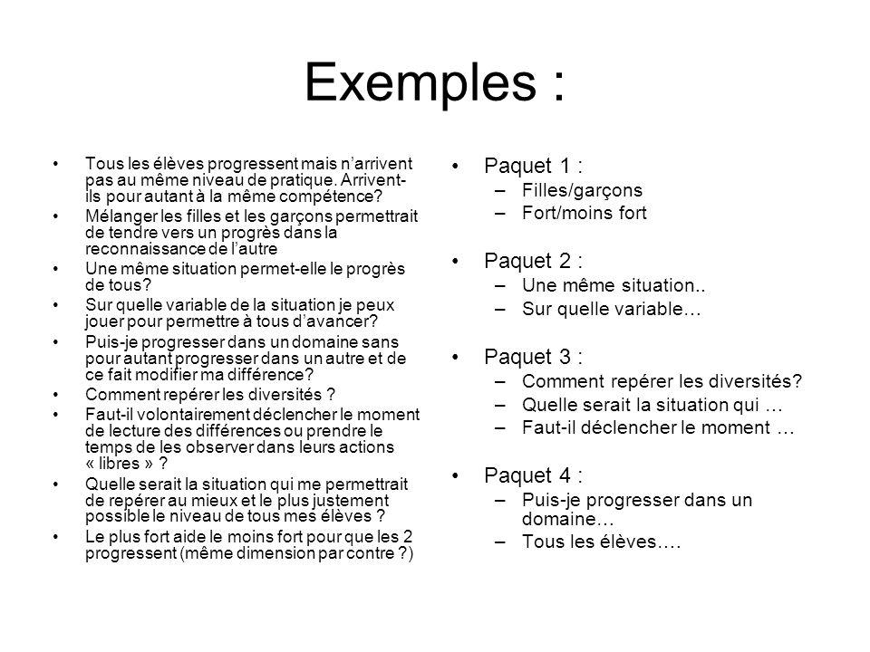 Exemples : Tous les élèves progressent mais n'arrivent pas au même niveau de pratique. Arrivent- ils pour autant à la même compétence? Mélanger les fi