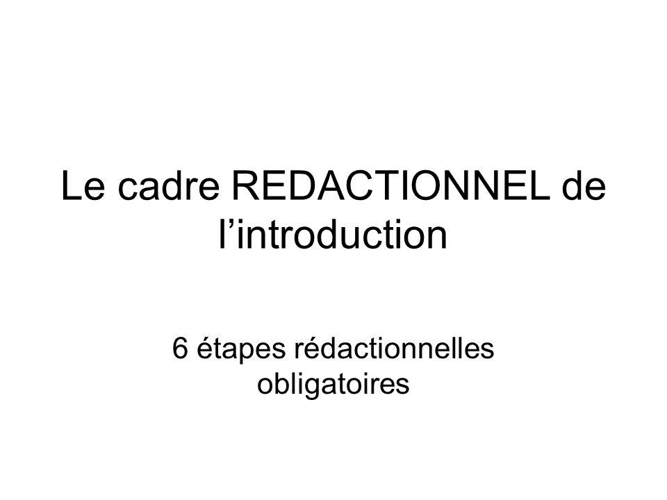 Le cadre REDACTIONNEL de l'introduction 6 étapes rédactionnelles obligatoires