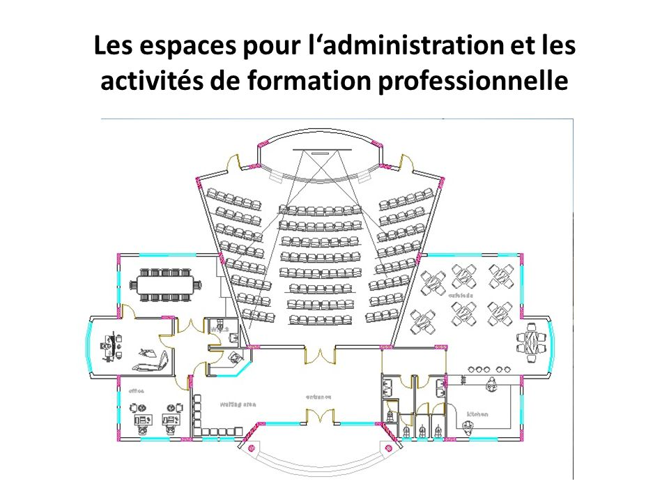 Les espaces pour l'administration et les activités de formation professionnelle