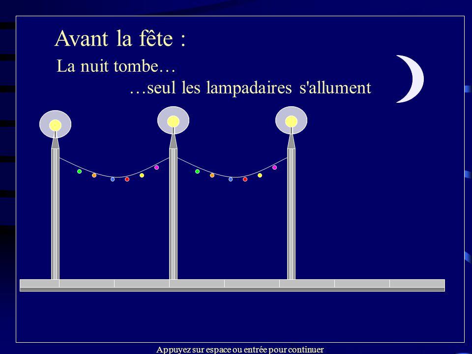 Avant la fête : Installation et connections des guirlandes Avant la fête : La nuit tombe… …seul les lampadaires s'allument Appuyez sur espace ou entré