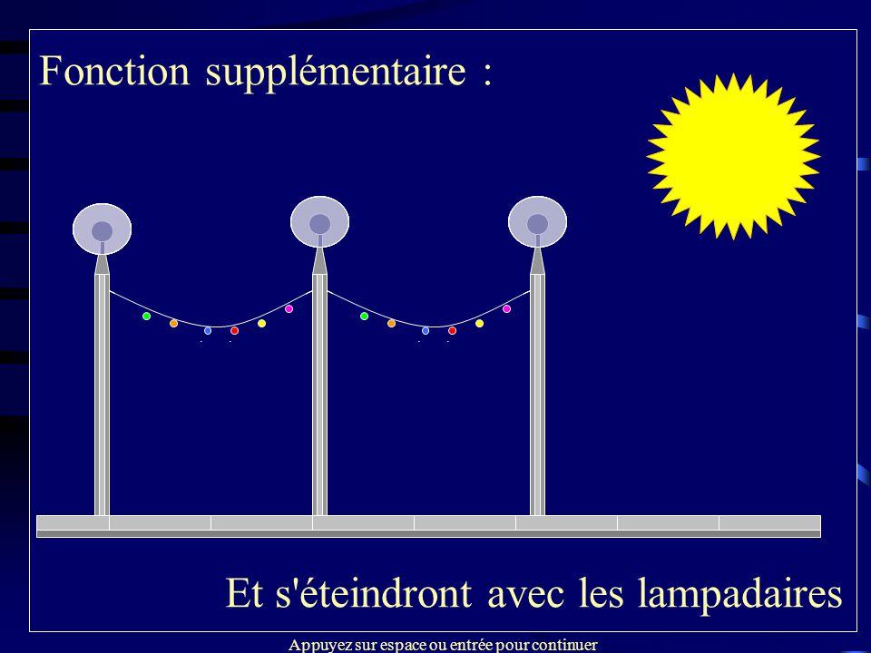 Fonction supplémentaire : La nuit tombe… Temporisation : Les guirlandes s'allument en même temps que les lampadaires A l'heure programmée, les guirlan