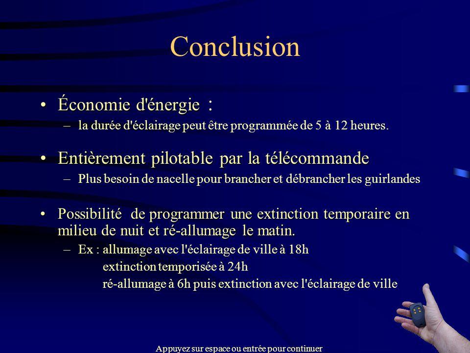 Conclusion Économie d'énergieÉconomie d'énergie : –la durée d'éclairage peut être programmée de 5 à 12 heures. Entièrement pilotable par la télécomman