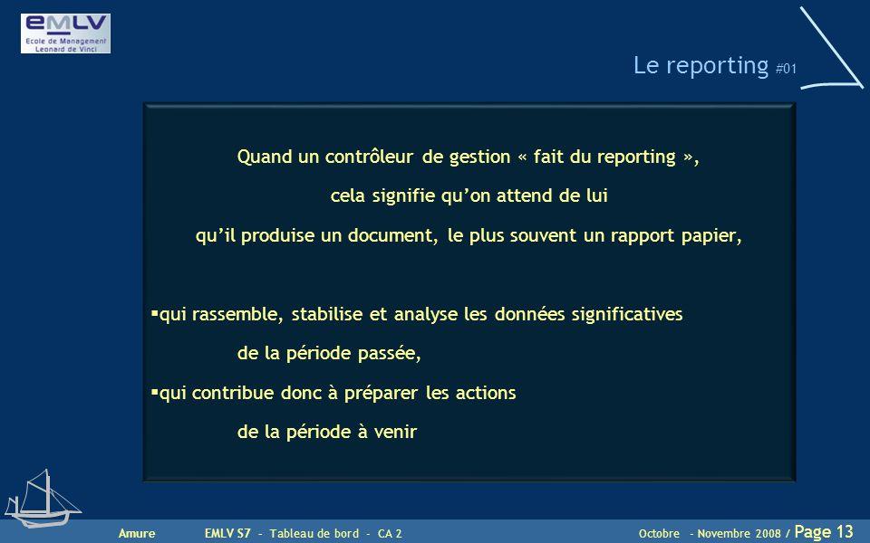 AmureEMLV S7 - Tableau de bord - CA 2Octobre - Novembre 2008 / Page 13 Le reporting #01 Quand un contrôleur de gestion « fait du reporting », cela sig