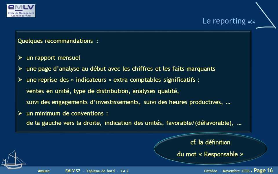 AmureEMLV S7 - Tableau de bord - CA 2Octobre - Novembre 2008 / Page 16 Le reporting #04 Quelques recommandations :  un rapport mensuel  une page d'a