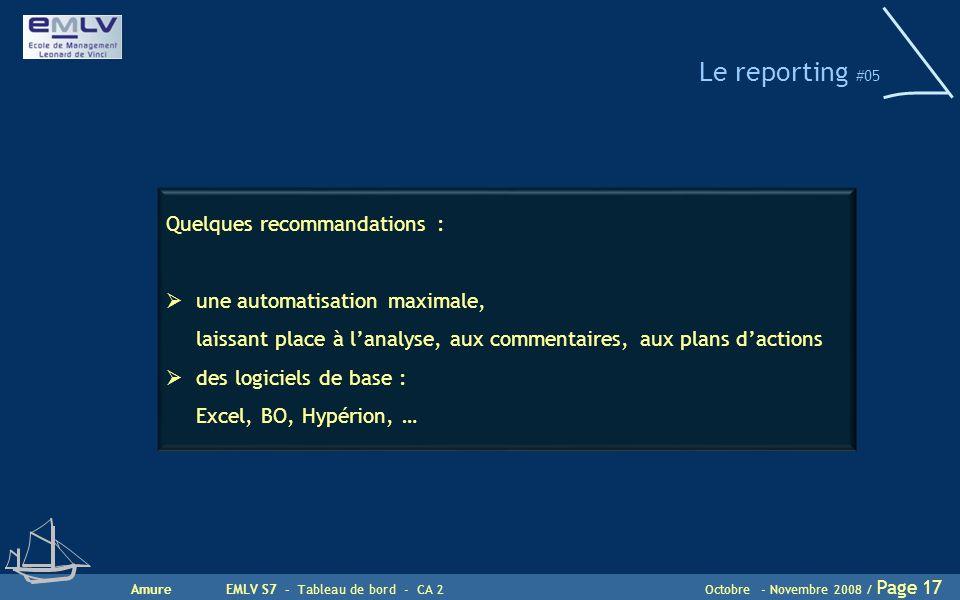 AmureEMLV S7 - Tableau de bord - CA 2Octobre - Novembre 2008 / Page 17 Le reporting #05 Quelques recommandations :  une automatisation maximale, lais