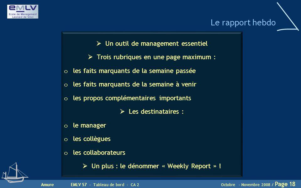AmureEMLV S7 - Tableau de bord - CA 2Octobre - Novembre 2008 / Page 18 Le rapport hebdo  Un outil de management essentiel  Trois rubriques en une pa