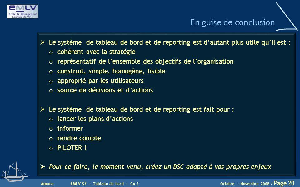 AmureEMLV S7 - Tableau de bord - CA 2Octobre - Novembre 2008 / Page 20 En guise de conclusion  Le système de tableau de bord et de reporting est d'au