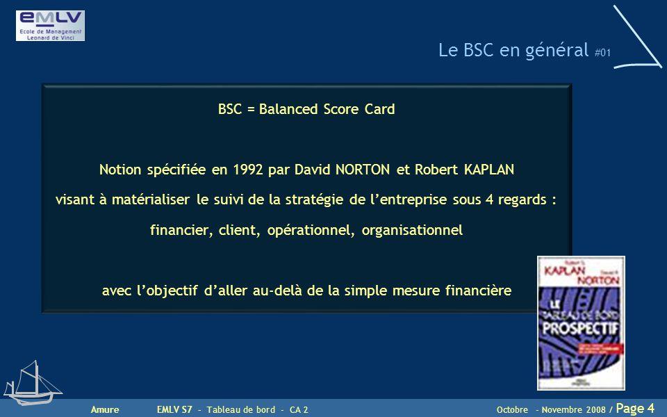 AmureEMLV S7 - Tableau de bord - CA 2Octobre - Novembre 2008 / Page 4 Le BSC en général #01 BSC = Balanced Score Card Notion spécifiée en 1992 par Dav