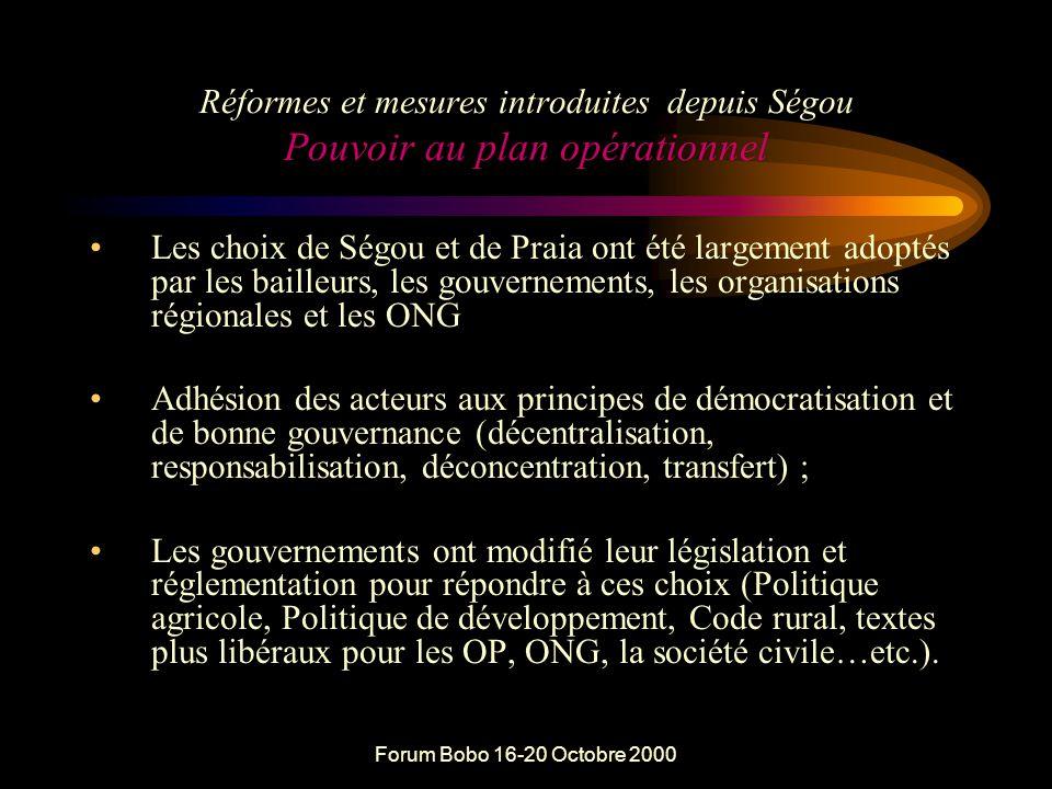 Forum Bobo 16-20 Octobre 2000 Formes de participation et de responsabilisation dans la GRN  Pouvoir au plan Politique ou stratégique  Pouvoir au plan opérationnel ou dans l'action