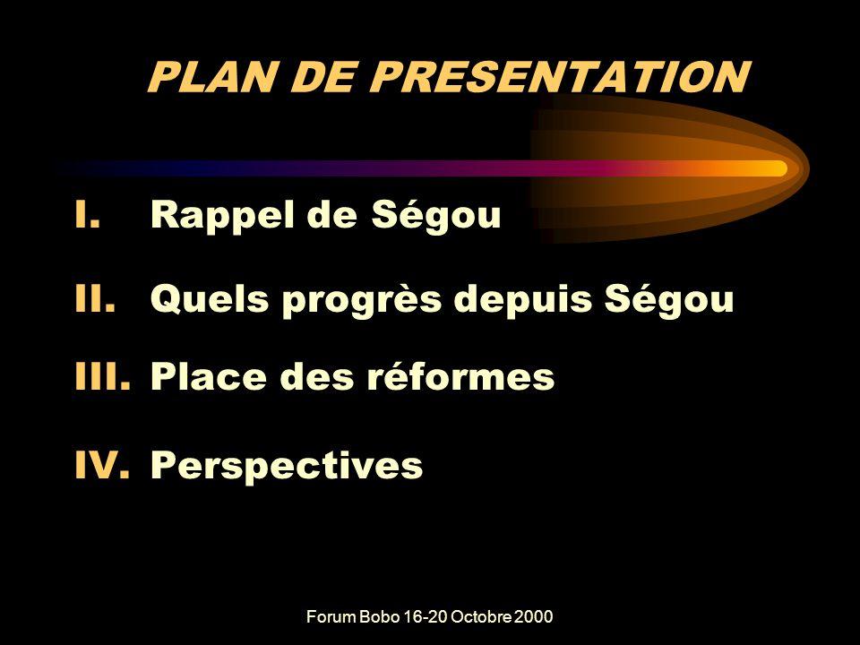 Forum Bobo 16-20 Octobre 2000 PARTICIPATION ET RESPONSABILISATION DES ACTEURS A LA BASE Rétrospective et perspective des politiques et mesures de réformes législatives et institutionnelles Résultats de Koudougou