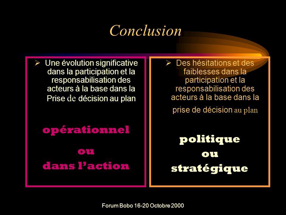 Forum Bobo 16-20 Octobre 2000 Après 40 ans « d'efforts » en matière de décentralisation et de démocratisation Les populations sont impliquées dans de nombreux débats et discussions d'orientation, de planification et de programmation.