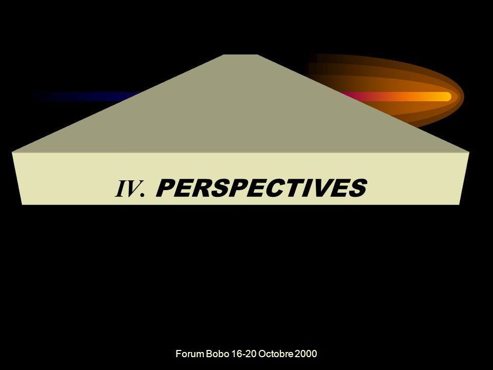 Forum Bobo 16-20 Octobre 2000 Conclusion  Des hésitations et des faiblesses dans la participation et la responsabilisation des acteurs à la base dans la prise de décision au plan politique ou stratégique  Une évolution significative dans la participation et la responsabilisation des acteurs à la base dans la Prise de décision au plan opérationnel ou dans l'action