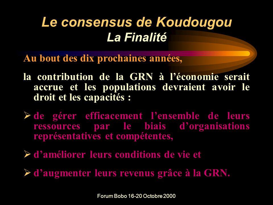 Forum Bobo 16-20 Octobre 2000 SUGGESTIONS DE KOUDOUGOU POUR CONSOLIDER ET RENFORCER LA R&P OPERATIONNELLE