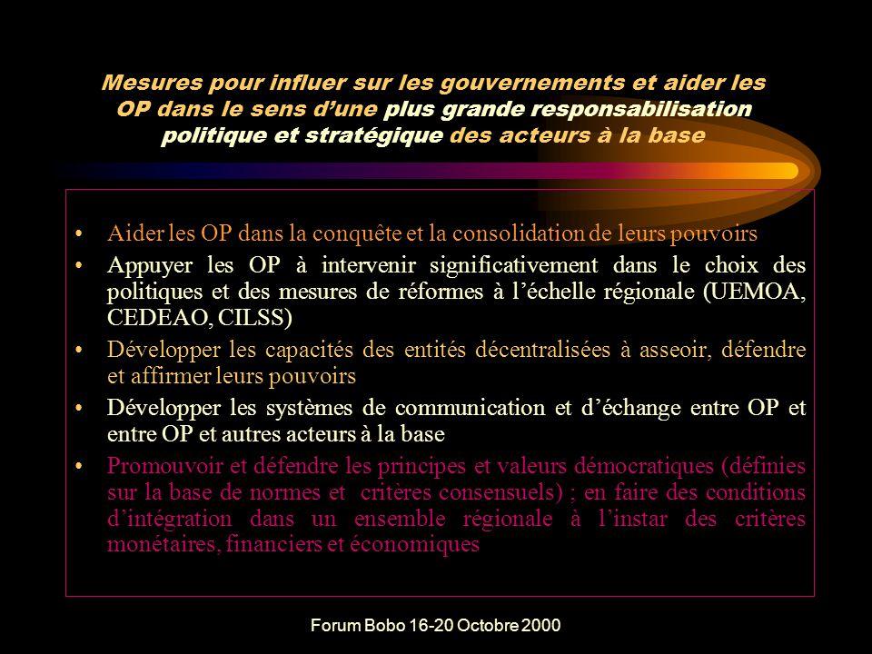 Forum Bobo 16-20 Octobre 2000 QUELLES SUGGESTIONS POUR LA R&P POLITIQUE ET STRATEGIQUE