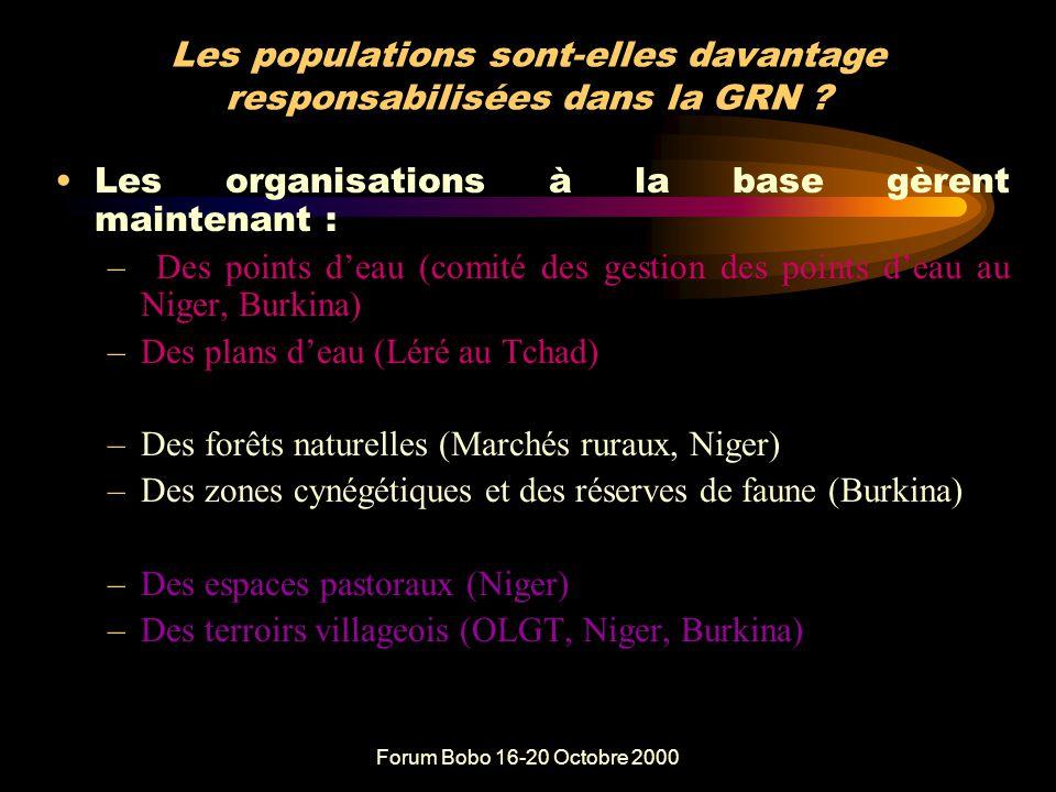 Forum Bobo 16-20 Octobre 2000 Qu'a-t-on fait au plan de la sécurisation foncière .