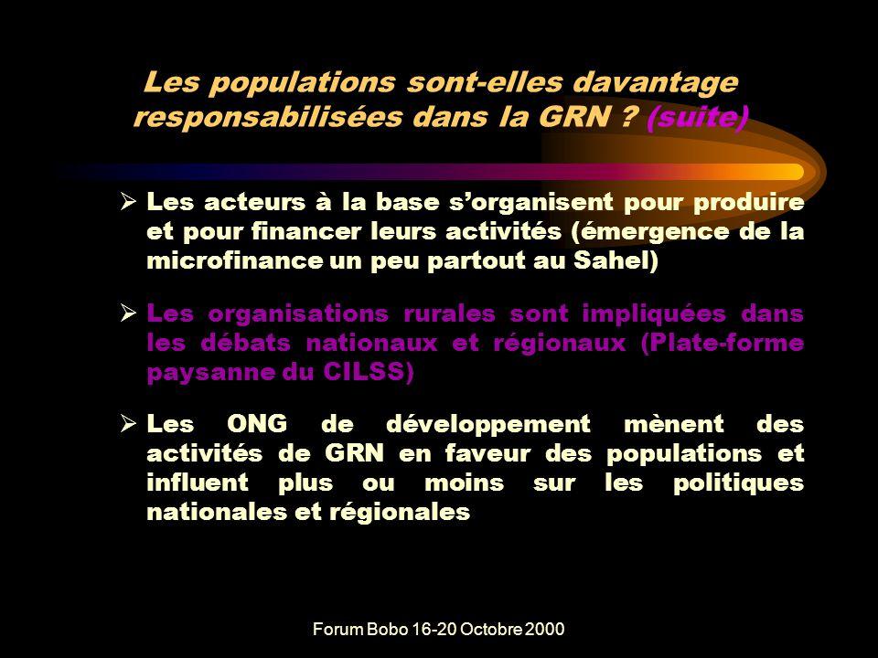 Forum Bobo 16-20 Octobre 2000 Les populations sont-elles davantage responsabilisées dans la GRN .
