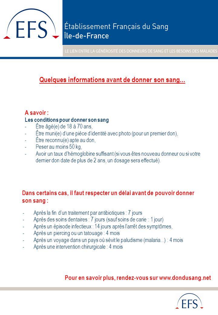 A savoir : Les conditions pour donner son sang -Être âgé(e) de 18 à 70 ans, -Être muni(e) d'une pièce d'identité avec photo (pour un premier don), -Être reconnu(e) apte au don, -Peser au moins 50 kg, -Avoir un taux d'hémoglobine suffisant (si vous êtes nouveau donneur ou si votre dernier don date de plus de 2 ans, un dosage sera effectué).