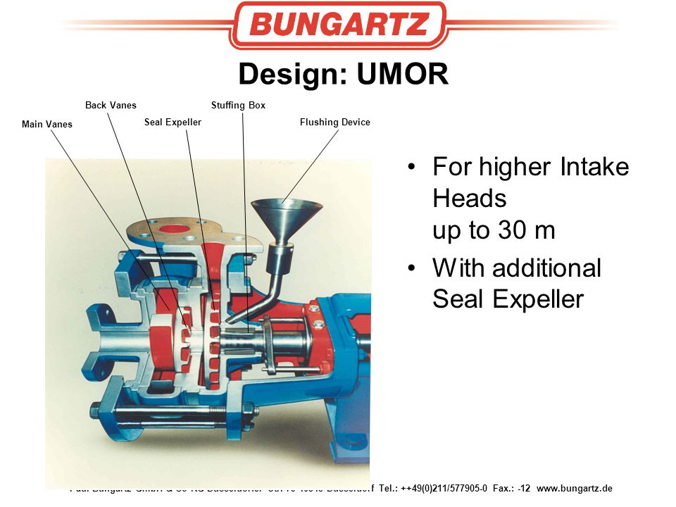 Paul Bungartz GmbH & Co KG Düsseldorfer Str. 79 40545 Düsseldorf Tel.: ++49(0)211/577905-0 Fax.: -12 www.bungartz.de Design: UMOR Main Vanes Back Vane