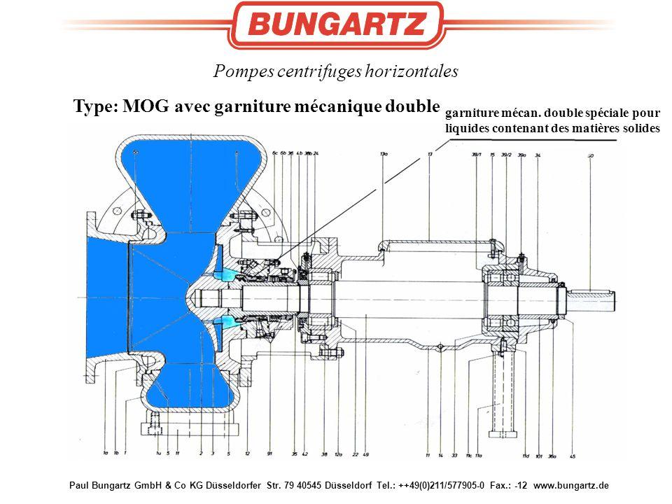 Paul Bungartz GmbH & Co KG Düsseldorfer Str. 79 40545 Düsseldorf Tel.: ++49(0)211/577905-0 Fax.: -12 www.bungartz.de Pompes centrifuges horizontales T