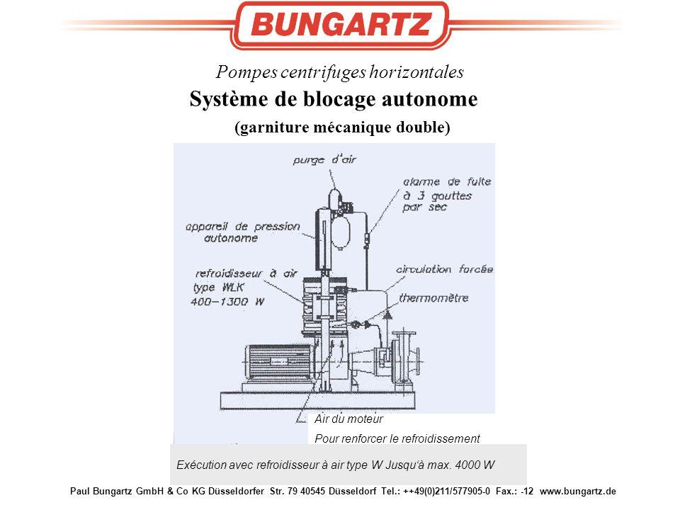 Paul Bungartz GmbH & Co KG Düsseldorfer Str. 79 40545 Düsseldorf Tel.: ++49(0)211/577905-0 Fax.: -12 www.bungartz.de Pompes centrifuges horizontales S