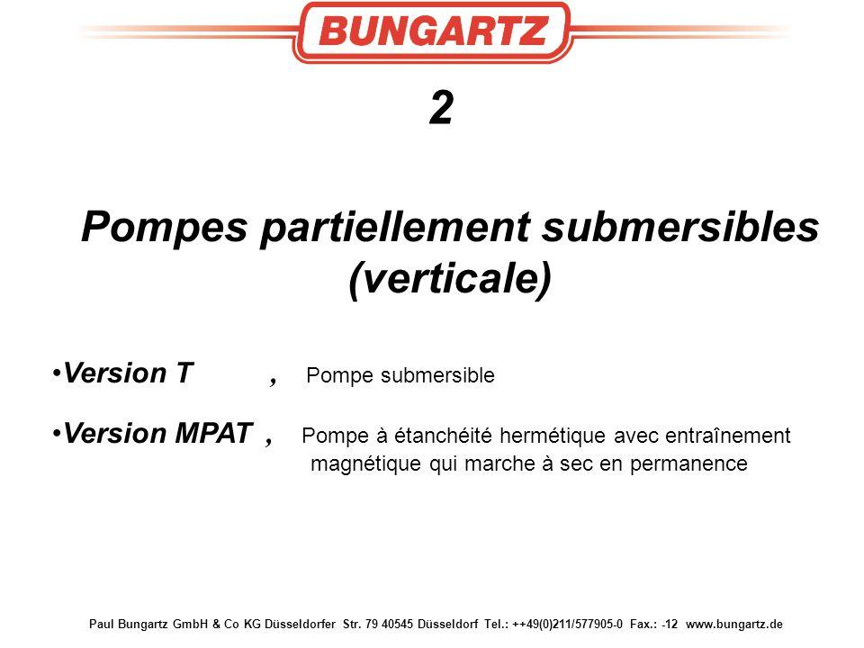 Paul Bungartz GmbH & Co KG Düsseldorfer Str. 79 40545 Düsseldorf Tel.: ++49(0)211/577905-0 Fax.: -12 www.bungartz.de 2 Pompes partiellement submersibl