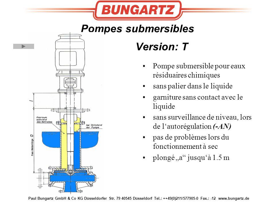 Paul Bungartz GmbH & Co KG Düsseldorfer Str. 79 40545 Düsseldorf Tel.: ++49(0)211/577905-0 Fax.: -12 www.bungartz.de Pompes submersibles Version: T Po
