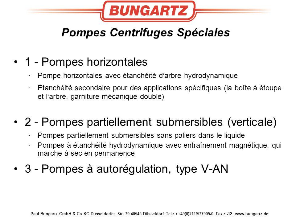 Paul Bungartz GmbH & Co KG Düsseldorfer Str. 79 40545 Düsseldorf Tel.: ++49(0)211/577905-0 Fax.: -12 www.bungartz.de Pompes Centrifuges Spéciales 1 -