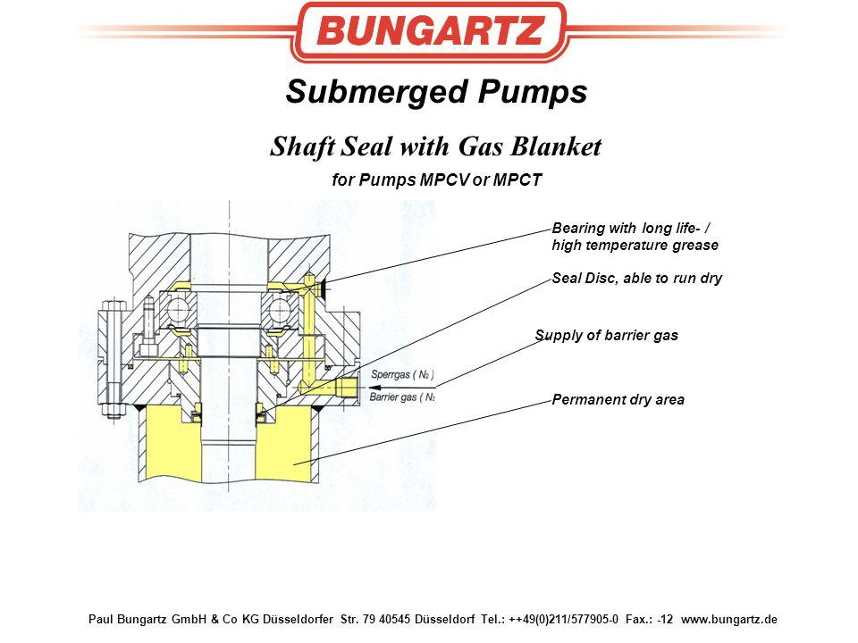 Paul Bungartz GmbH & Co KG Düsseldorfer Str. 79 40545 Düsseldorf Tel.: ++49(0)211/577905-0 Fax.: -12 www.bungartz.de Submerged Pumps Shaft Seal with G
