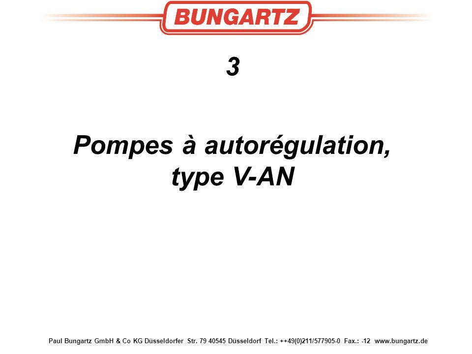 Paul Bungartz GmbH & Co KG Düsseldorfer Str. 79 40545 Düsseldorf Tel.: ++49(0)211/577905-0 Fax.: -12 www.bungartz.de 3 Pompes à autorégulation, type V